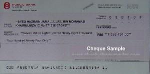 public bank cheque